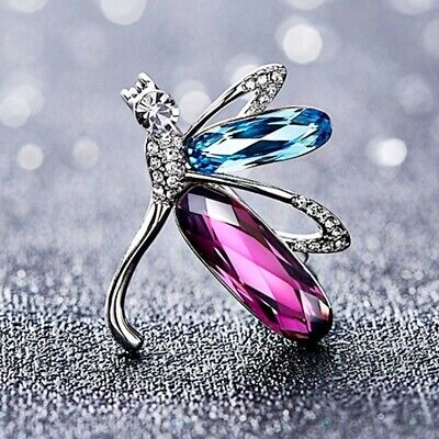 £18.96 • Buy Thick 18K White Gold GF Made With SWAROVSKI Crystal Gorgeous Dragonfly Brooch