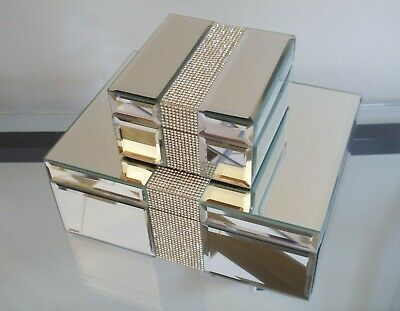 Set Of 2 Stylish Art Deco Mirrored Glass Dressing Table Top Boxes • 50£