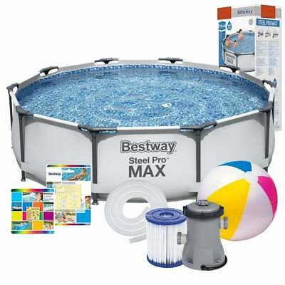 12in1 GARDEN SWIMMING POOL + PUMP 305cm 10FT Round Frame Above Ground Pool SET • 269.90£