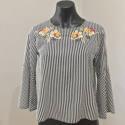 AU28 • Buy Pull And Bear Top Womens 8 Striped Embroiderd Detail Bell Sleeves EUC