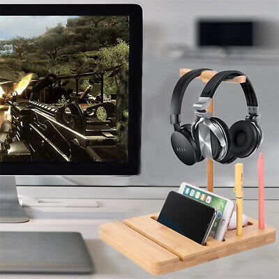 AU18.99 • Buy Bamboo Universal Gaming Headset Stand Headphone Display Hanger Rack Phone Holder