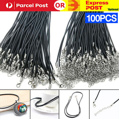 AU23.90 • Buy 100x Black PU Leather Craft Cord Rope Lobster Clasp Jewelry Pendant Necklace DIY