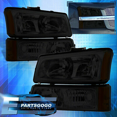 $68.99 • Buy For 03-06 Chevy Silverado Smoked Replacement Head Lights + Signal Bumper Lamps