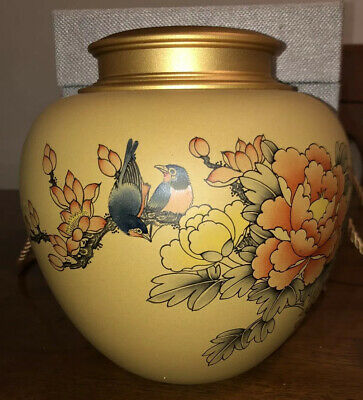 $135 • Buy Chinese Ceramic Cremation Urn Brass Top For Seswith Padded Carrying Case