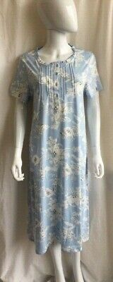 M&S Nightie Nightdress Long Length Cotton Mix Short Sleeve Floral Blue/Pink 6-18 • 10.99£