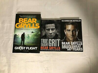 3x Bear Gryll Books True Grit Ghost Flight Mud, Sweat And Tears (Good Condition) • 9.99£