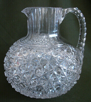$20 • Buy Antique American Brilliant Period Cut Glass Straus Russian Squat Pitcher