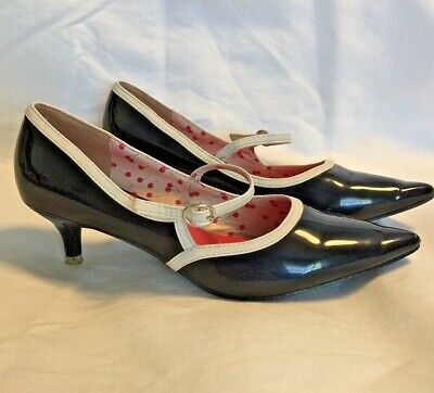 AU49.99 • Buy Banned Black MaryJane Kitten Heel Shoes Sz 36/6  Pinup Rockabilly 1950s Inspired