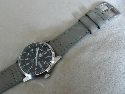Grey Leather Watch Strap To Fit Seiko 5 Sports SNZG SNZF Quick Release 22 Mm • 13.95£