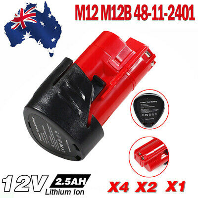 AU12.99 • Buy Battery 2500mAh 12V For Milwaukee M12 48-11-2440 48-11-2402 48-11-2401 Lithium