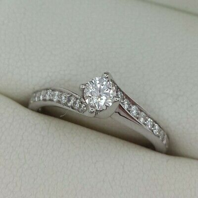 AU910.32 • Buy Diamond Solitaire Twist Ring In 18ct White Gold Finger Size J