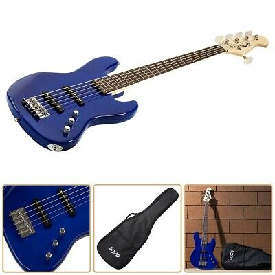 $ CDN365.55 • Buy 5 String Low B Electric Bass Guitar Basswood Body Pickup Protective Gig Bag Blue