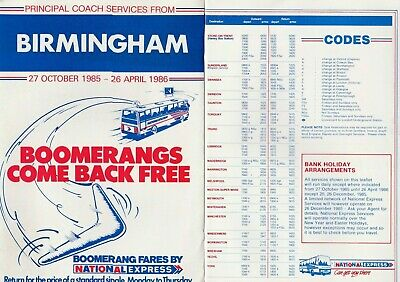National Express Birmingham Digbeth Principal Services Timetable October 1985 • 1.70£