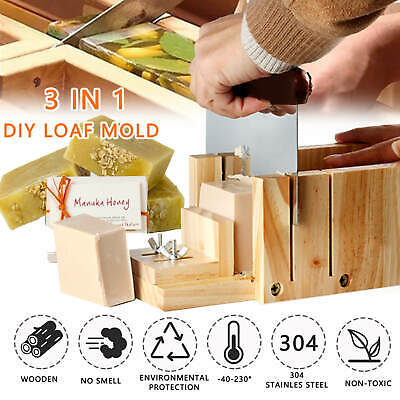 DIY Wood Loaf Soap Mould Silicone Mold Cake Making Tool Wooden Box+Slicer Cutter • 17.59£