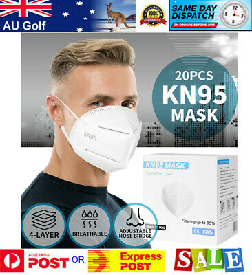 AU95.90 • Buy N95 KN95 Mask Face Masks Reusable Disposable Anti Dust Respirator Filter X 20