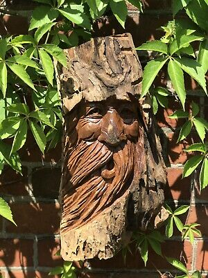 Green Man Wooden Carving - Large Half Tree Log 39cm. Hand Made. Garden /Interior • 29.99£