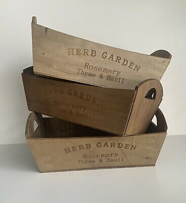 Wooden Herb Planter Trough Garden Window Box New • 3.99£