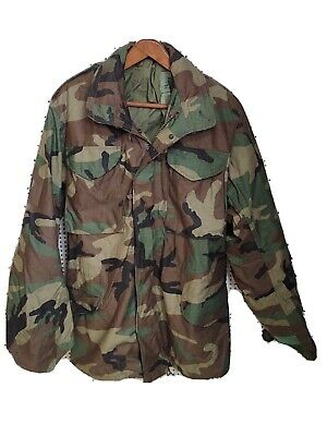 $50 • Buy New Nos Us Army Bdu Woodland Camo M-65 Cold Weather Field Jacket Hood Small-long