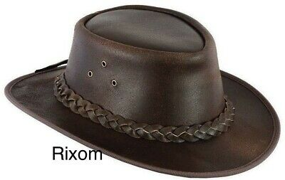 FREE DELIVERY Australian Style Leather Cowboy Hat Western Brown Bush Outback Hat • 13£
