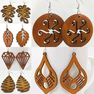 Large Tribal African Wooden Custom Laser Cut Brown Fashion Earrings - 6 OPTIONS • 2.99£