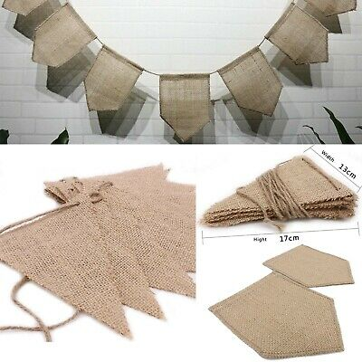 Jute Hessian Burlap Rustic Vintage Wedding Bunting Banner Flags Party Decor  • 1.89£