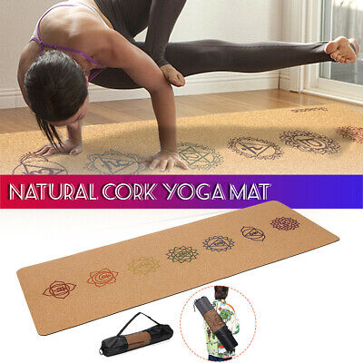 AU39.99 • Buy Natural Cork 5mm ECO TPE Yoga Mat Non-slip Fitness Pads Exercise Fitness Gym AU