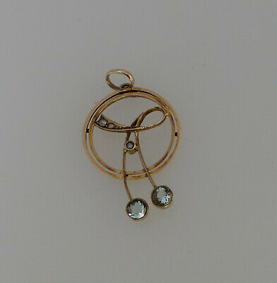 Edwardian Style 9ct Gold Seed Pearl & Aquamarine Paste Drop Pendant Stamped 9c • 145£
