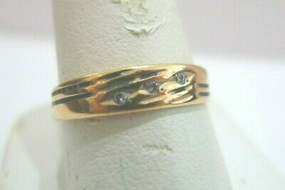 $130 • Buy 18k Solid Yellow Gold 3 Diamond Accents Wedding Band Style Ring