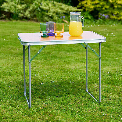 £22.95 • Buy 2.3ft Wood Effect Aluminium Folding Portable Camping Table Party BBQ Carry UK