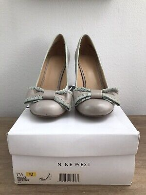 AU25 • Buy Nine West Alice Grey/mint Green High Heels With Bows Size 7.5