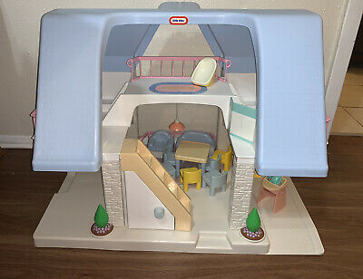 $125 • Buy Vintage Little Tikes Place Blue Roof Doll House W/Accessories & People