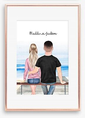 AU18.99 • Buy A4 Love Couple Boyfriend Wall Print/Sign Unique Gift Personalised Valentines Day