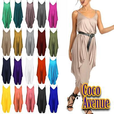 Ladies Womens Plain Italian Baggy Lagenlook Alibaba Harem Cami Jumpsuit Playsuit • 8.95£