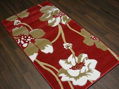 Top Quality New 80x150cm Aprox 5x3ft Woven Rugs/mats Hand Carved Poppy Red/beige • 32.99£