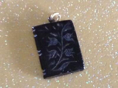 Antique Real.  Whitby.  Jet.  Book.  Pendant  • 35£