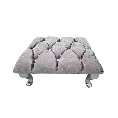 £37.95 • Buy Grey Chesterfield Footstool Square Crushed Velvet Diamante Queen Anne Legs