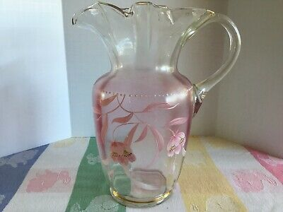 $35 • Buy Victorian Clear & Pink Handpainted Glass Pitcher Handblown Applied Handle