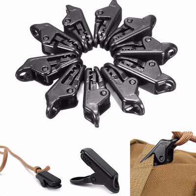 Plastic Tent Clips Camping Hiking Tent Tarp Clip Outdoor Campe Clamp Black • 4.49£