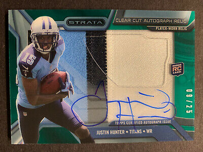 $6.75 • Buy 2013 Topps Strata JUSTIN HUNTER Clear Cut RC Rookie Jersey Auto Green /25 Titans