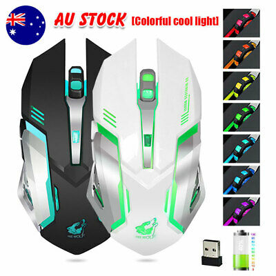 AU19.95 • Buy LED Wired Wireless Gaming Mouse USB Ergonomic Optical For PC Laptop Rechargeable