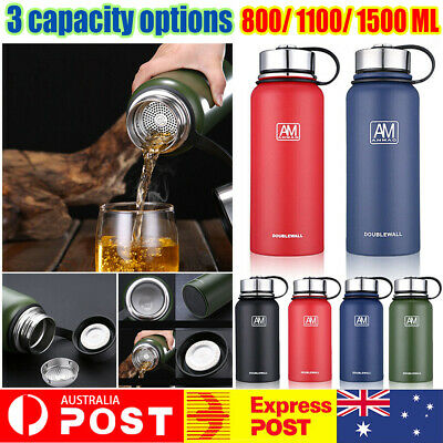 AU27.91 • Buy Stainless Steel Vacuum Water Bottle Double Wall Insulated Gym Sports Metal Flask