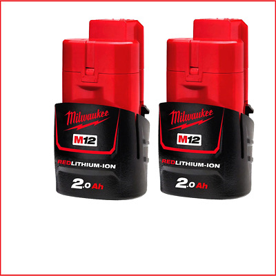 AU98 • Buy Genuine Milwaukee QTY X2 M12B2 12V Li-Ion 2.0Ah RED LITHIUM Battery Twin Pak
