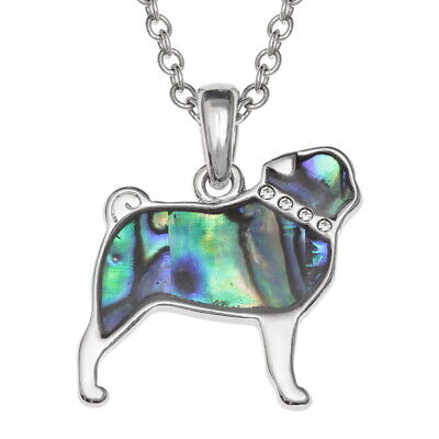 £9.95 • Buy Pug Dog Necklace Paua Abalone Shell With Chain - Gift Boxed