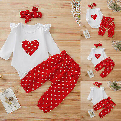 AU17.59 • Buy 3PCS Baby Girl Bodysuit+Pant+Headband Outfits Set Newborn Toddler Clothes Romper