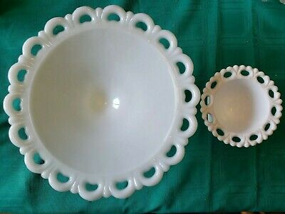 $13 • Buy 2 Vintage White Milk Glass Lace Edge Pedestal Footed Candy Dish Compote Bowls