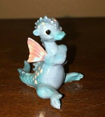 "$4 • Buy Ceramic Baby Blue Dragon Statuette, 3"" High, Adorable!"
