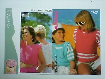 Patons - Ladies & Girls Summer Cropped Top, Sweater & Vest  - Knitting Pattern • 3.50£