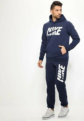 Nike Mens Fleece Graphic Tracksuit Track Suit Hooded Top & Jogs Set Navy S-XL • 61.99£