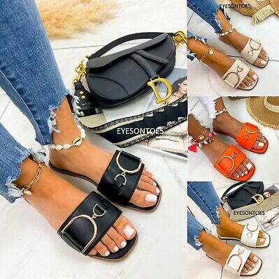 Ella Marina Flat White Jade Black Buckle Mule Sandal Sliders Slip On Summer NEW