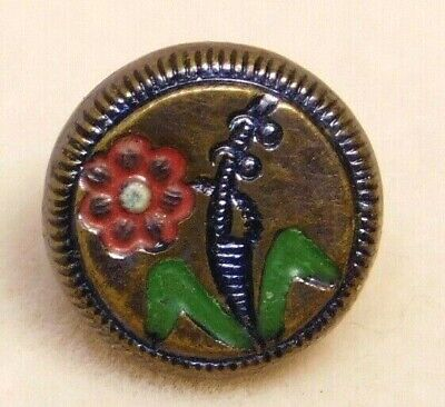 $1.99 • Buy Antique Vtg BUTTON Very Small Stamped Brass W A Hand Painted Flower NICE! U